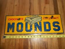 Vintage 1930s Tin Advertising Sign - 5 Cent Chocolate Mounds Candy Bar EMBOSSED