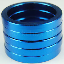 "Bicycle BMX or MTB headset spacers for 1 1/8"" threadless (SET of 5) 5mm - BLUE"
