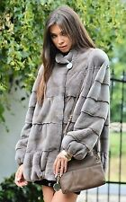 NWT 2016 GIANOTTI MOCCA NATURAL SHEARED MINK FUR COAT MADE IN ITALY, SZ. MED