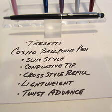 SET OF 2 TERZETTI COSMO-BLACK SLIM BALLPOINT PEN-CONDUCTIVE TOP