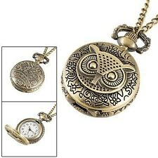 "Owl Pocket Watch Necklace Steampunk Pendant Antiqued Bronze Vintage 32"" Chain"