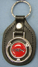 Vintage Red Plymouth GTX Steering Wheel Black Leather Keyring Key Fob