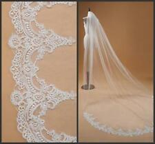 White Cathedral Length Lace Edge Wedding Veil 1T  Bridal Veils With Comb