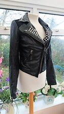 TOPSHOP BLACK REAL LEATHER STUDDED BIKER JACKET SIZE 8 IN GREAT CONDITION