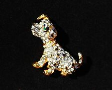 Dalmatian Dog Puppy gold plated black enamel spots clear rhinestones BROOCH