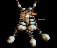 Vintage Miriam Haskell Necklace Horse Jewelry Arabian Horse Original Bronze