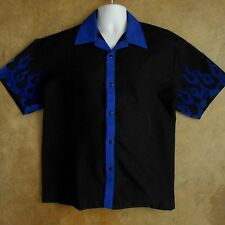 Men's RED LIGHT Bowling Shirt Sz XL Black with Blue Velvet Flames 100% Polyester