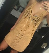 H&M Gold Knit Mesh See Through Long Top Dress Beach Cover Up Size S