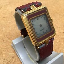 Vintage Marcel Men Lady Leather LCD Hands Analog Quartz Watch Hours~New Battery