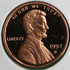 1992 S Lincoln Penny One-Cent Proof U.S. Mint Coin 1c from Proof Set