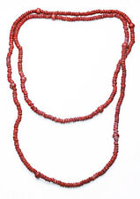INDISPENSABLE LONG STRING OF TERRACOTTA WOODEN CATERPILLAR BEADS NECKLACE (ZX39)