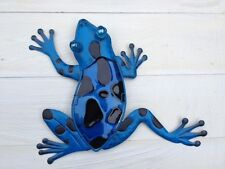 Bright Blue With Black Metal & Glass Frog Wall Art Garden/Home/Shed/Fence