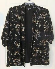 Forever 21 Sz M Black Floral Kimono Jacket Cardigan Top~Open Front, Short Sleeve