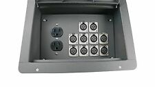 Stage Recessed Floor Box w/AC Duplex Outlet & 10 XLR Microphone Connectors