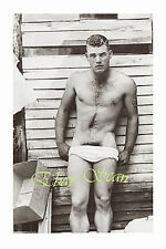 VINTAGE 1940's PHOTO NEAR NUDE SOLDIER TEASES GAY BUDDY GAY INTEREST 39