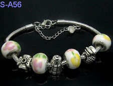 Top handmade European style porcelain lobster clasp charm beaded bracelet DIY