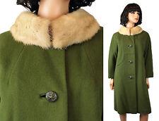 Mink Collar Winter Coat L Vintage 60s Olive Green Wool Honey Blonde Real Fur