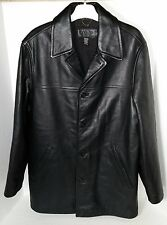 J Crew Long Black Leather Button Up Dress Jacket w/Liner Size Small Classy Warm