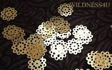 Gold Metallic Open Lace FLOWERS VINTAGE SEQUINS PAILLETTES DANGLES TRIM 18mm Lot