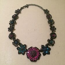 Chico's Signed Necklace Gunmetal Black Flower Charm Chain Pink Turquoise Crystal