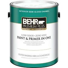 Behr Premium Plus 1 gal. Ultra Pure White Semi-Gloss Zero VOC Interior Paint