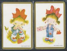#915.269 Blank Back Swap Cards -MINT pair- Girls with big red bows, gold border