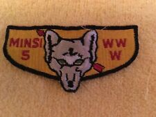 "Vintage Boy/Girl Scout Patch Minsi 5 WWW Wolf Pocket Flap 4 1/2"" x 2"" GC"