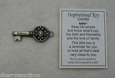 q Believe POCKET TOKEN inspirational KEY charm pendant faith friendship love