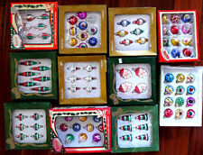GREAT Huge Lot NEW Vtg Box Feather Tree Mini Glass Xmas Ornaments Indent Santas