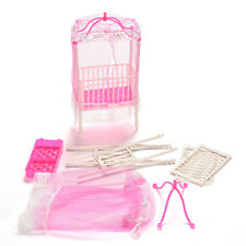 1Pc Sweet Crib with Mosquito Net Doll Accessories for Barbie Girls Gift Cute