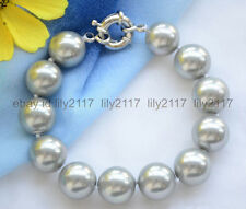 GENUINE 12MM SILVER GRAY ROUND SOUTH SEA SHELL PEARL BANGLE 8""