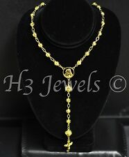 16.60 grams 18k  yellow gold diamond cut bead long chain necklace rosary 28inch