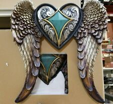 Western Angel wings w heart n turquoise wall decor 14 x 8