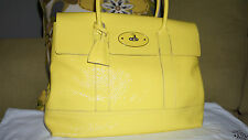 Mulberry 'Holiday Bayswater' Lemon Patent Leather Satchel Excellent Condition!