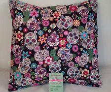 Handmade black candy sugar skull print cushion cover 12 pouces