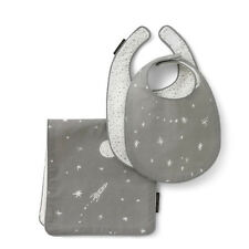 Dwell Studio Nursery 3pc bib and burp cloth set Galaxy stars