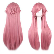 80cm Long Straight Anime Wig Mirai Nikki Synthetic Pink Hair Wigs Cosplay Cxas