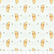 """Camelot Winnie The Pooh Honeybee in White 100% cotton 43"""" fabric by the yard"""