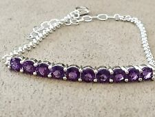 Amethyst Colored Sterling Silver 925 Cubic Zirconia Bracelet - Size 8 inches