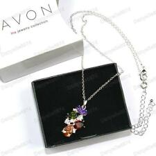 PURPLE/OLIVE/CHAMPAGNE multi gem PENDANT NECKLACE silver tone extender chain BOX
