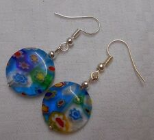 Handmade millefiori sliver plated drop dangle earrings round beads colourful