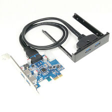 "4 Port USB 3.0 Hub to PCI-e PCI Express Card Adapter & 20pin to 3.5"" Front Panel"
