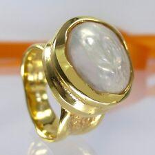 A526 Unikat Biwa Perlen Ring 925 Silber vergoldet Gr.60 Handarbeit Massiv 15,7g