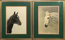 Pair 1938 JEAN RIVET Color Lithograph EQUESTRIAN Prints BLACK & WHITE HORSES