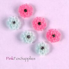 12 RESIN FLOWER FLATBACK CABOCHON EMBELISHMENT CRAFT RHINESTONE DECODEN HOBBY