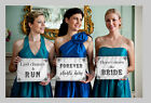 Wedding here comes Bride kiss forever sign photo booth props vintage shabby new