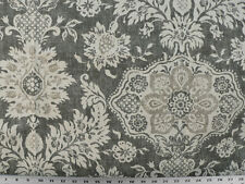 Drapery Upholstery Fabric 100% Cotton Duck Damask-Like Floral - Charcoal