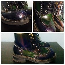 Womens 7 ROBERT WAYNE Sugar Ray Dark Blue & Green Wingtip Punk Laced Ankle Boots