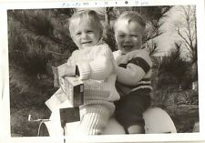 Old Vintage Photograph Adorable Babies on Mailbox with Box of Sunmaid Raisins