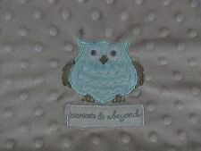 Blankets & and Beyond Boutique Soft Minky Owl Blanket Baby Infant Gray Green EUC